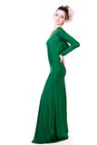 Beautiful young woman in a green evening dress Royalty Free Stock Images