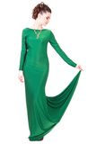 Beautiful young woman in a green evening dress Stock Image