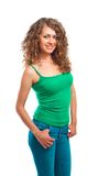 Beautiful young woman in green top isolated Royalty Free Stock Photos
