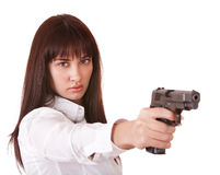 Beautiful young woman with gun. Royalty Free Stock Photos