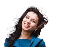 Beautiful young woman with hair flying Royalty Free Stock Photo