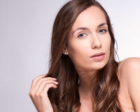 Beautiful young woman with hair flying Royalty Free Stock Images