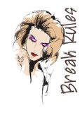Beautiful young woman with hairstyle and expressive look. Fashion sketch. Fashion girls face. Hand-drawn fashion model. Woman face. On a white background royalty free illustration
