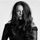 Beautiful young woman. hairy girl Stock Photos