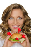 Beautiful young woman with hamburger from hearts Royalty Free Stock Photo