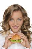 Beautiful young woman with hamburger Stock Photos