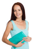 Beautiful young woman with a handbag royalty free stock images
