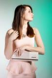 Beautiful young woman with handbag. Stock Photo
