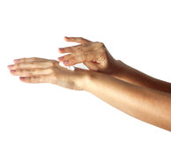 Beautiful young woman hands with cream Stock Photos