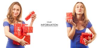 Beautiful young woman in the hands of gift boxes celebration set pattern stock image