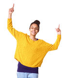 Beautiful young woman with hands raised in celebration Stock Image
