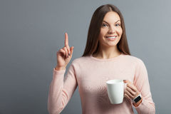 Beautiful young woman has a great idea Stock Images