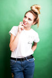 Beautiful young woman has an idea. Royalty Free Stock Images