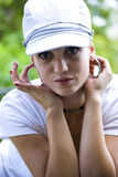 Beautiful young woman with hat Royalty Free Stock Image
