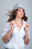 Beautiful Young Woman in Hat Royalty Free Stock Image