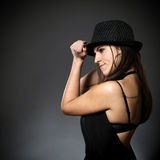 Beautiful young woman with hat Stock Photos