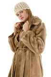 Beautiful Young Woman in Hat and Fur Winter Coat Stock Image