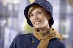 Beautiful young woman in hat and scarf Royalty Free Stock Photography