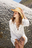 Beautiful young woman with hat and summer dress Stock Images