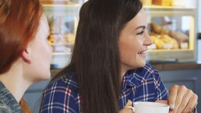 Beautiful young woman having coffee with her friend at the bakery shop. Close up shot of a beautiful young woman laughing joyfully talking to her friend while stock footage