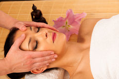 Beautiful young woman having a face massage in wellness studio - Stock Image
