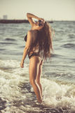 Beautiful young woman having fun at the beach Royalty Free Stock Image