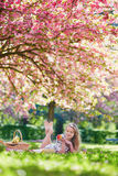 Beautiful young woman having picnic in blooming spring park Royalty Free Stock Images