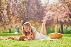 Woman having picnic on sunny spring day in park during cherry blossom season stock photo