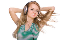 Beautiful young woman with headphones Stock Photography