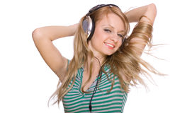 Beautiful young woman with headphones Royalty Free Stock Photography
