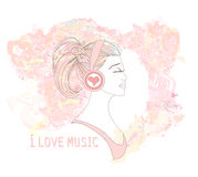 Beautiful young woman in headphones listening to music. Abstract background Royalty Free Stock Images