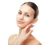 Beautiful young woman with healthy clean skin stock photos