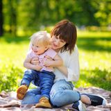 Beautiful young woman and her adorable little son Royalty Free Stock Photo