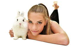 Beautiful young woman with her bunny Royalty Free Stock Photography
