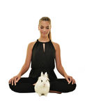 Beautiful young woman with her bunny Royalty Free Stock Images