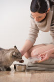 Beautiful young woman and her cat Stock Images
