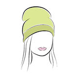 Beautiful young woman with her hair in a green high hat. Vector fashion sketch in hand drawing style for your design. EPS10 Royalty Free Stock Images