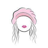 Beautiful young woman with her hair in a pink beret. Vector fashion sketch in hand drawing style for your design. EPS10 Royalty Free Stock Photography