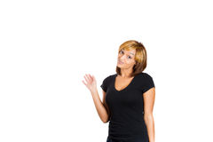 Beautiful young woman with her hand up in the air as if to say oops! i made a mistake Stock Image