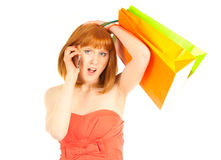 Beautiful young woman with her shopping bags Stock Photography