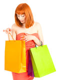 Beautiful young woman with her shopping bags Royalty Free Stock Photography