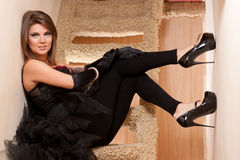 Beautiful young woman in high heels shoes Royalty Free Stock Photos