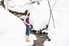Beautiful young woman on a hike in a winter forest Royalty Free Stock Photos