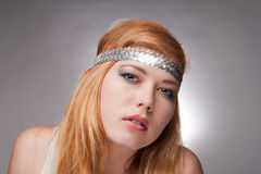 Beautiful young woman hippie. Portrait of a young girl  hippie close-up Royalty Free Stock Photography