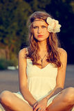 Beautiful young woman hippie posing outdoor. Attractive blonde hippie girl outdoor Royalty Free Stock Photos