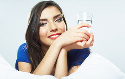 Beautiful young woman hold wated glass Royalty Free Stock Photos