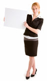 Beautiful Young Woman Holding A Blank White Sign Royalty Free Stock Photos