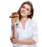Beautiful young woman holding big chocolate bar, healthy food concept Stock Photos