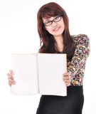 Beautiful young woman holding a blank book Royalty Free Stock Photos
