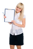 Beautiful young woman holding a blank sheet Royalty Free Stock Photos
